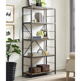 "60"" Rustic Metal and Wood Media Bookshelf - Barnwood"