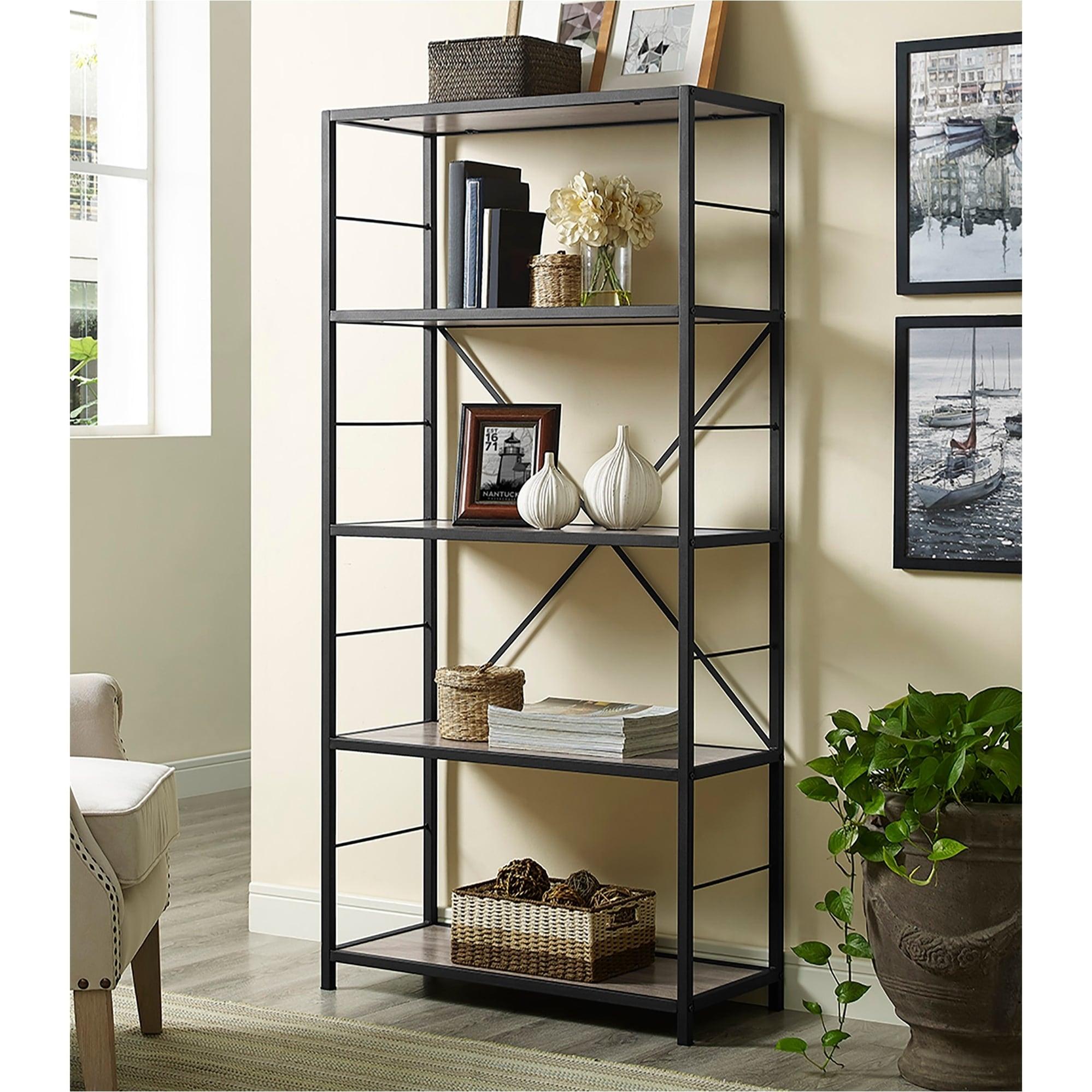 63 Inch Rustic Metal And Wood Bookshelf