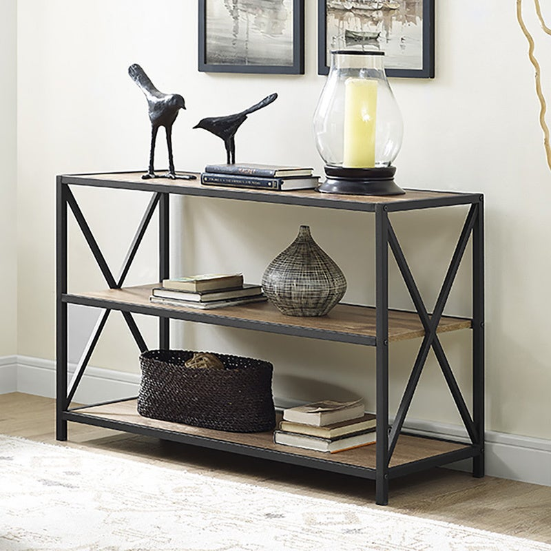 X Frame Metal And Wood Media Bookshelf