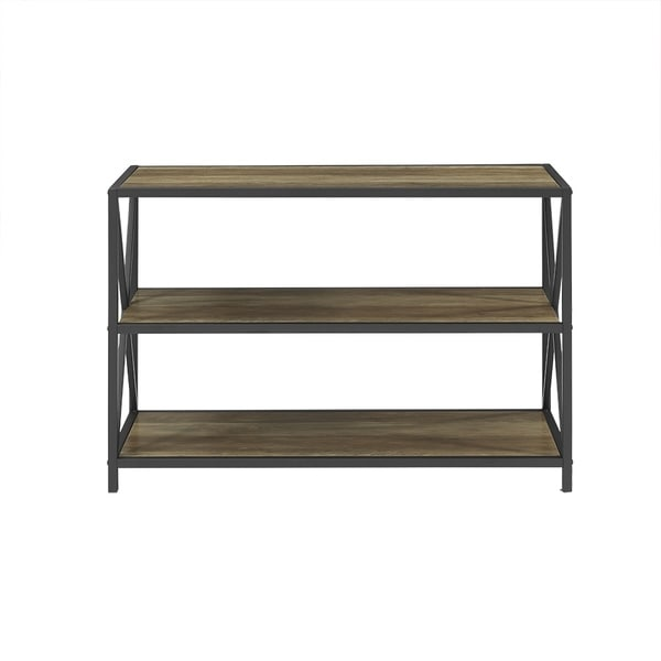 40 Inch X Frame Metal And Wood Media Bookshelf   Free Shipping Today    Overstock.com   20492995
