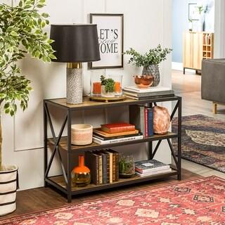 40inch xframe metal and wood media bookshelf