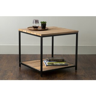 East At Main's Carbon Brown Square Teakwood Accent Table