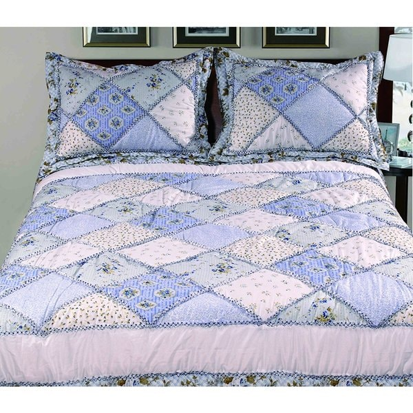 Livingston Home 3-piece Garden Diamond Design Bed in a Bag with Quilted Pillow Shams - Queen