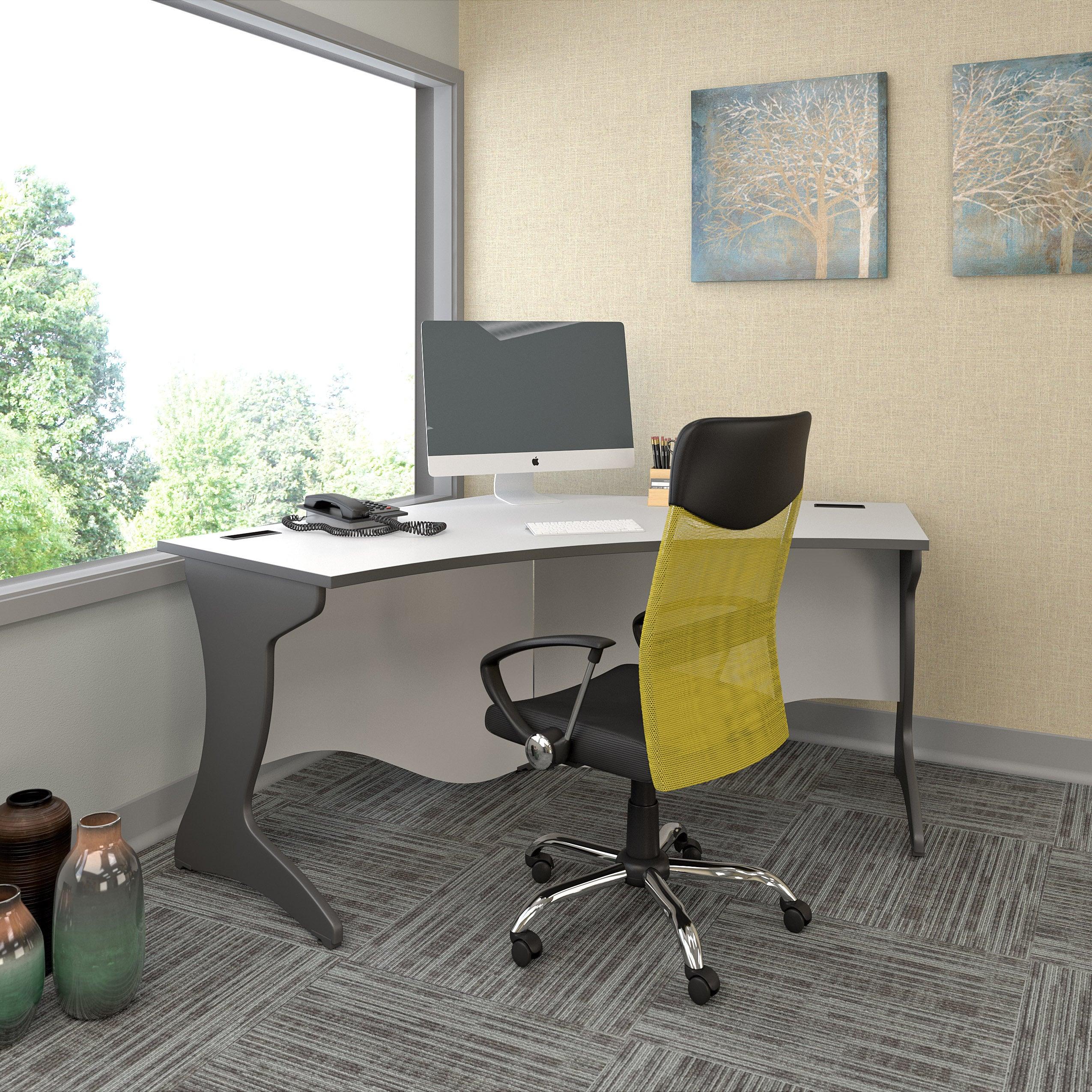 Corliving Workspace Grey Curved Corner Desk Overstock 13851472
