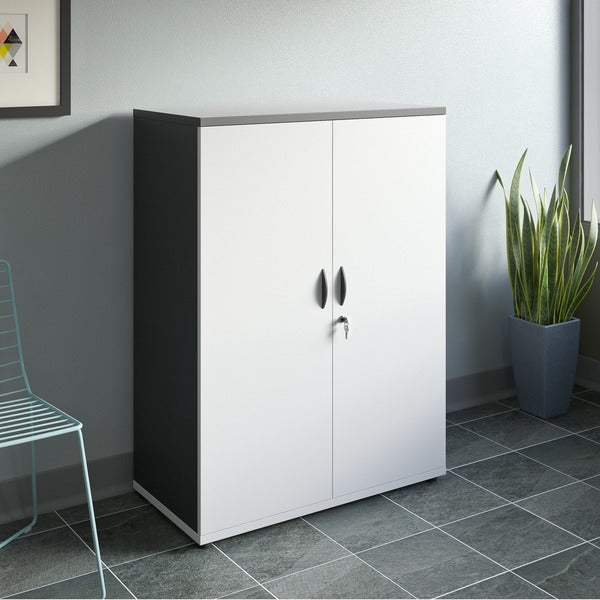 Corliving Two Tone Storage Cabinet With Locking Doors Free