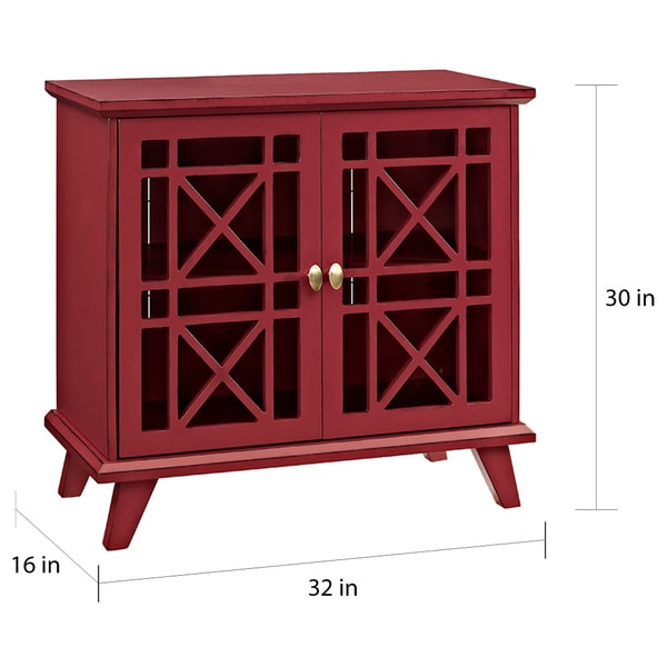 32 Inch Fretwork Red Entryway Console   Free Shipping Today   Overstock.com    20493590