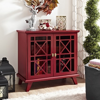 32-inch Red Fretwork Entryway Console