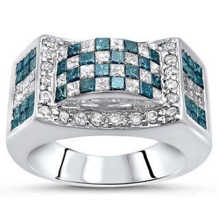 Noori 14k White Gold 2 1/3ct TDW Blue Princess Cut Diamond Band Ring (G-H, SI1-SI2)