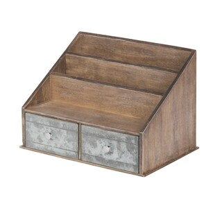 Industrious Desktop Wood/Metal File Folder Organizer with 2 Pockets and 2 Drawers