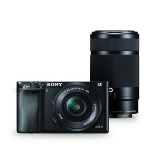 Sony Alpha a6000 Black Interchangeable Lens Camera with 16-50mm and 55-210mm Sony E-Mount Lenses