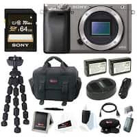 Sony a6000 w/ Camera Gadget Bag & 64GB SDHC Accessory Bundle - Graphite