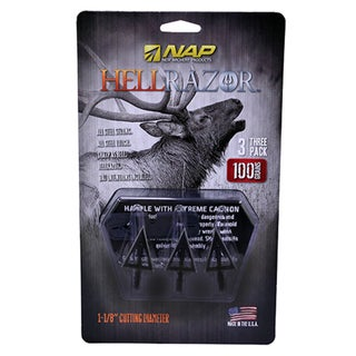 New Archery Products Hellrazor 100-grain 1 1/8 Cutting Diameter 3-blade Fixed Broadheads (3 Pack)