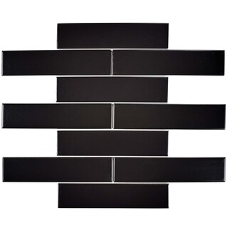 SomerTile 1.75x7.75-inch Victorian Soho Subway Matte Black Porcelain Floor and Wall Tile (10 tiles/1 sqft.)