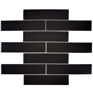 SomerTile 1.75x7.75-inch Victorian Soho Subway Matte Black Porcelain Floor and Wall Tile (10/Pack, 1