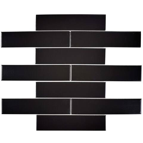 SomerTile 1.75x7.75-inch Victorian Soho Subway Matte Black Porcelain Floor and Wall Tile (10 tiles/1 sqft.)
