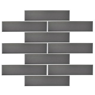 SomerTile 1.75x7.75-inch Victorian Soho Subway Matte Grey Porcelain Floor and Wall Tile (10/Pack, 1