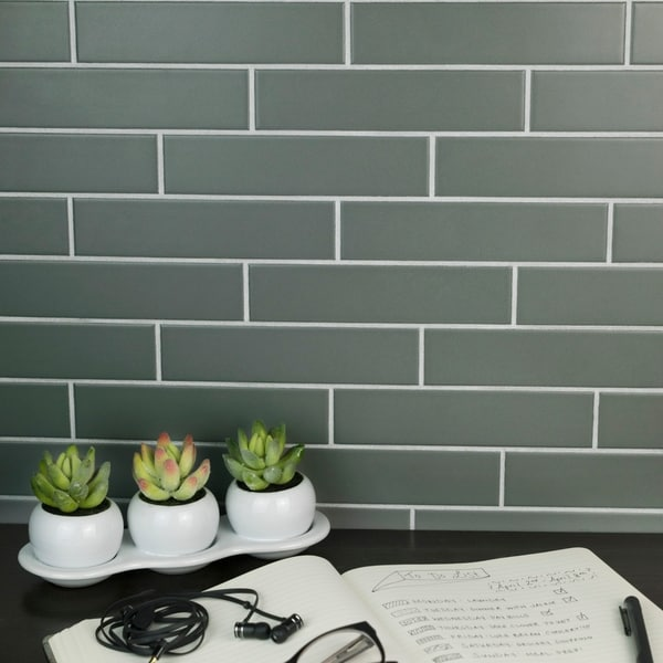 Shop SomerTile Xinch Victorian Soho Subway Matte Grey - 4x6 wall tile