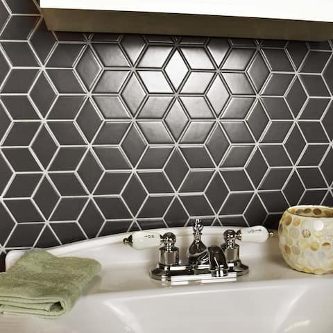 SomerTile 10.5x12.125-inch Victorian Rhombus Matte Grey Porcelain Mosaic Floor and Wall Tile (10 tiles/9.04 sqft.)