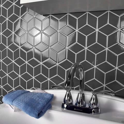 SomerTile 10.5x12.125-inch Victorian Rhombus Glossy Grey Porcelain Mosaic Floor and Wall Tile (10 tiles/9.04 sqft.)
