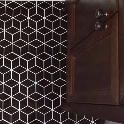 SomerTile 10.5x12.125-inch Victorian Rhombus Glossy Black Porcelain Mosaic Floor and Wall Tile (10 tiles/9.04 sqft.)