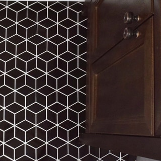 SomerTile 10.5x12.125-inch Victorian Rhombus Glossy Black Porcelain Mosaic Floor and Wall Tile (10/Case, 9.04 sqft.)