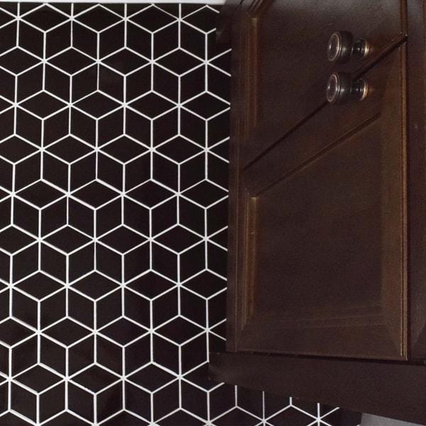 Somertile victorian rhombus glossy black for 10 inch floor tiles