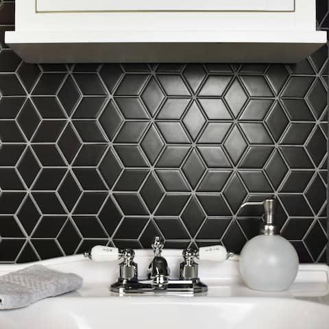 SomerTile 10.5x12.125-inch Victorian Rhombus Matte Black Porcelain Mosaic Floor and Wall Tile (10 tiles/9.04 sqft.)