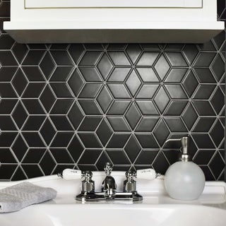SomerTile 10.5x12.125-inch Victorian Rhombus Matte Black Porcelain Mosaic Floor and Wall Tile (10 tiles/9.04 sqft.)