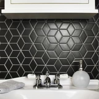 Somertile 10 5x12 125 Inch Victorian Rhombus Matte Black Porcelain Mosaic Floor And Wall