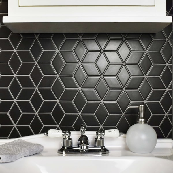 SomerTile 10.5x12.125 Inch Victorian Rhombus Matte Black Porcelain Mosaic  Floor And Wall