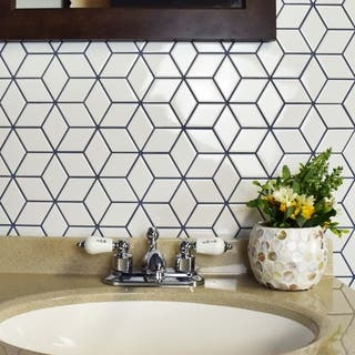 Tile for less overstock somertile 105x12125 inch victorian rhombus glossy white porcelain mosaic floor and wall ppazfo