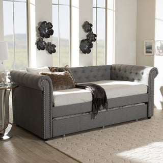Baxton Studio Contemporary Fabric Upholstered Trundle Daybed
