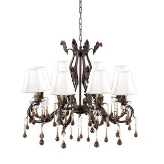 Brown Wrought Iron 8-light Floral Chandelier