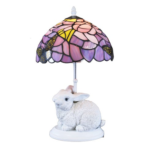 Waneesa Tiffany-style Purple and White Rabbit Lamp