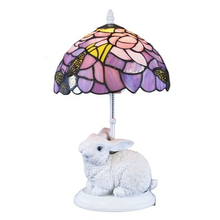 Shop Waneesa Tiffany Style Purple And White Rabbit Lamp