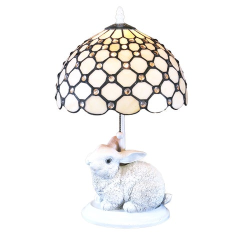 Elidee Tiffany-style Cream Glass Rabbit Lamp