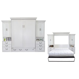Empire Antique White Queen-size Murphy Bed and Double Pier Cabinet Set