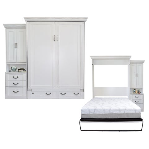 Empire Antique White Queen-size Murphy Bed and Pier Cabinet Set