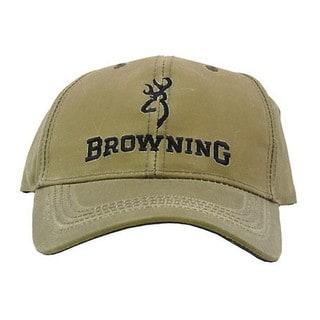 Browning Lite Khaki Cotton Wax Cap with Logo