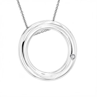Luxurman Sterling Silver Diamond Accent Circle Pendant