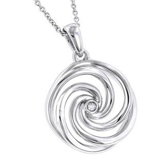 Luxurman Love Quotes Sterling Silver Diamond Accent Swirl Pendant