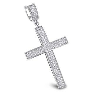 Luxurman 10k Gold 5/8ct TDW Diamond Cross Pendant (H-I, I1-I2)