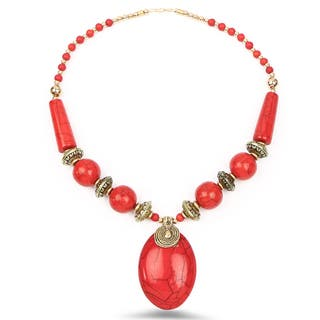 Liliana Bella Handmade Red And Gold Beaded Necklace And Earrings Set|https://ak1.ostkcdn.com/images/products/13853121/P20495041.jpg?impolicy=medium