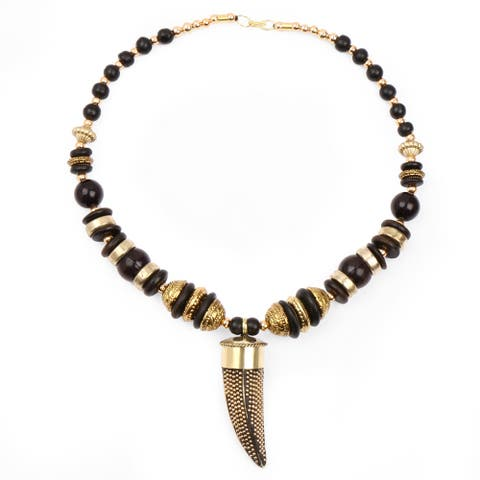 Liliana Bella Handmade Black And Gold Beaded Necklace And Earrings Set