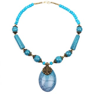 Liliana Bella Handmade Blue And Gold Beaded Necklace And Earrings Set