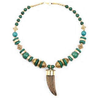 Liliana Bella Handmade Green And Gold Beaded Necklace And Earrings Set