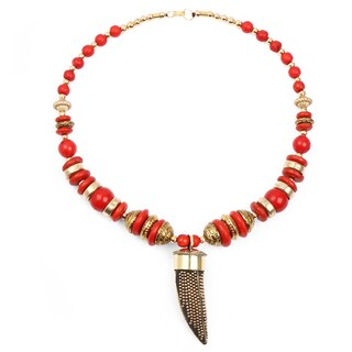Liliana Bella Handmade Red And Gold Beaded Necklace And Earrings Set