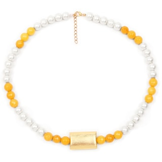 Liliana Bella Handmade Goldplated Yellow And White Pearl Necklace And Earrings Set