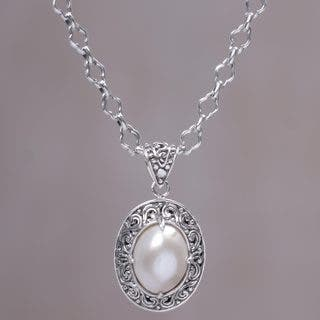 Handmade Sterling Silver 'Graceful Monument' Cultured Pearl Necklace (15 mm) (Indonesia)|https://ak1.ostkcdn.com/images/products/13853726/P20495486.jpg?impolicy=medium