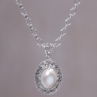 Handmade Sterling Silver 'Graceful Monument' Cultured Pearl Necklace (15 mm) (Indonesia)